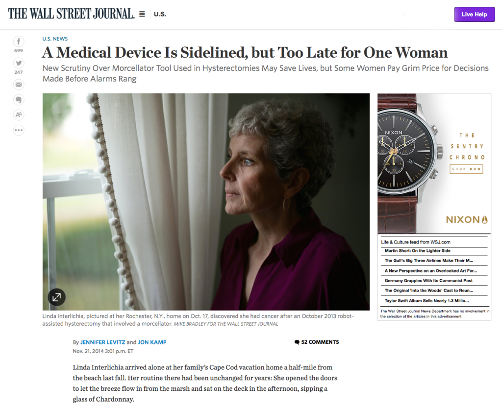Wall Street Journal - A Medical Device is Sidelined